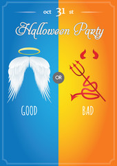 Halloween vector illustration of poster or flyer with angel and devil costume party