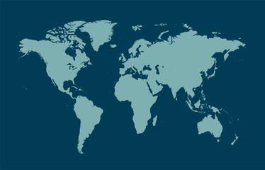 Door stickers World Map world map blue flat design