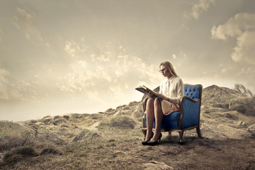 In de dag Fantasie Landschap Reading in a quiet place