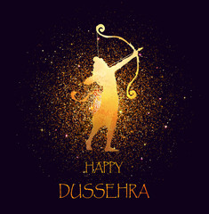 Happy Dussehra Celebration Card For Indian Festival Gold Lord Rama Taking Aim With Bow And