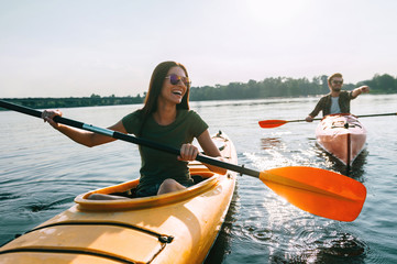 Couple kayaking together.