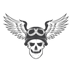 skull in helmet with wings. the soul of a biker.