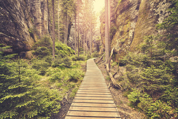 Vintage toned photo of a wooden path in Adrspach Teplice rock town, Czech Republic. Fototapete