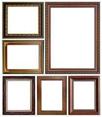 Antique frame isolated on white background.