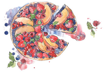 Berry pie watercolor illustration