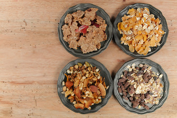 Delicious mix granola muesli cereal, healthy eating concept