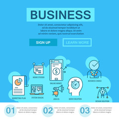 Business flat line concept with thin icons