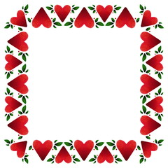 Red hearts and green leaves frame illustration