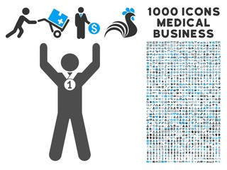 Winner Hands Up icon with 1000 medical commerce gray and blue vector pictographs. Set style is flat bicolor symbols, white background.