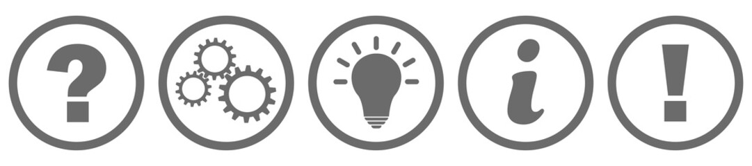 Fragezeichen Zahnrad Lampe Info und Ausrufezeichen