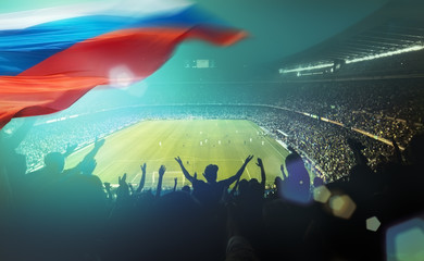 crowded stadium with russian flag