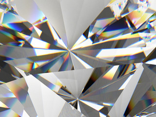 Diamond texture close up with caustic, 3D rendering.