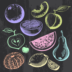 Multicolored Hand-drawn Contours of different Fruits