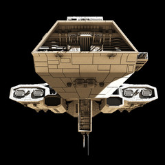 Space Ship on Black - front view, science fiction illustration