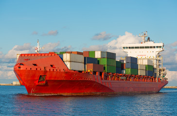 Big container ship in harbor