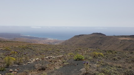 Beautiful panorama overview over the Canary Island of Lanzarote