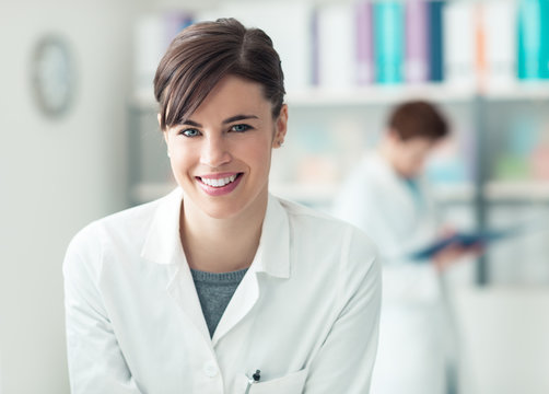 Smiling doctor at the clinic