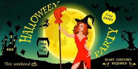 Halloween Party Invitation. Happy Halloween Poster. Vector illustration.