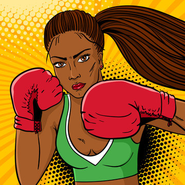 Sexy aggressive woman boxer with dark skin in red boxing gloves ready to fight. Vector hand drawn colorful  background in pop art retro comic style.
