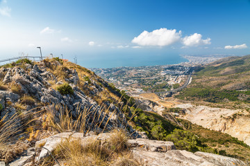 Sunny view of Costa del Sol from the top of Calamorro mountain, Benalmadena, Andalusia province, Spain.