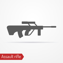 Abstract isolated assault rifle icon in silhouette style with shadow. Military vector stock image.