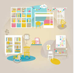 Children room interior vector set