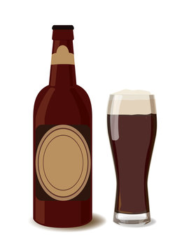 Dark beer bottle with a glass of beer. Vector illustration of beer, isolated. Oktoberfest