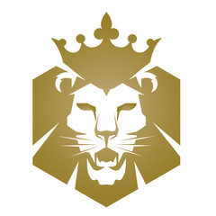 Vector Golden Lion Head Logo