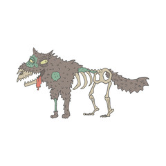 Dog Creepy Zombie Outlined Drawing