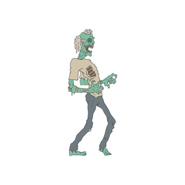 Barefoot Creepy Zombie Outlined Drawing