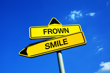 Frown or Smile - Traffic sign with two options - be likeable and joyful person with positive personality vs be negative growler, and grouch with negative facial expression