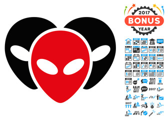 Visitor Heads icon with 2017 year bonus vector pictographs. Design style is flat symbols, white background.