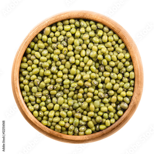 Photo: Mung beans in a wooden bowl on white background. Dried beans of ...
