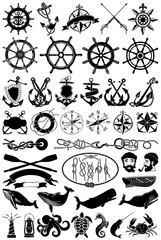 Vintage vector maritime clip art, nautical icons and design elements collection