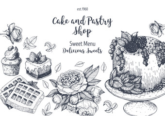 Vector design with ink hand drawn cake, pie ice cream and wafers. Vintage template for bakery menu or sweet home shop. Background with dessert sketch. Vector illustration in retro Linear style.