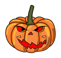 halloween creepy scary pumpkin vector symbol icon design.