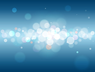 Glittering blue abstract background with colorful bokeh