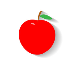 Apple Flat Icon. A hand drawn vector flat icon of an apple with shadow backdrop.