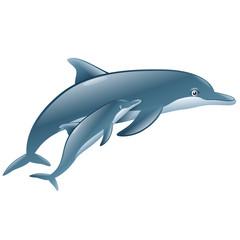 Photo sur Aluminium Dauphins a pair of cute dolphin