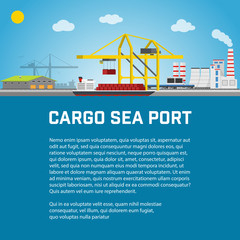 Cargo Sea Port, Unloading of  Containers from the Container Carrier, Cranes in  Load  Ship or Unload. Vector illustration.