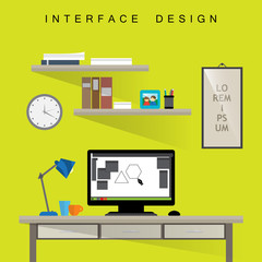 Home Designer Workplace - Vector Illustration, Graphic Design. For Web, Websites, Print, Presentation Templates, Mobile Applications And Promotional Materials