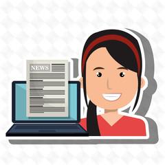 woman news laptop report vector illustration eps 10