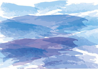 watercolor abstract mountain background ,blue color
