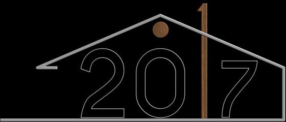 2017 con il simbolo edificio metallo e legno