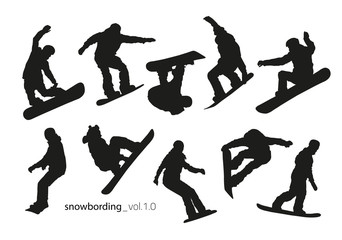 Black silhouettes of snowboarders on a white background.
