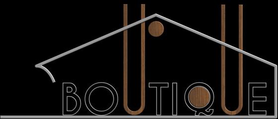 Boutique con il simbolo edificio metallo e legno