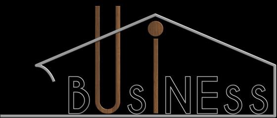 Business con il simbolo edificio metallo e legno