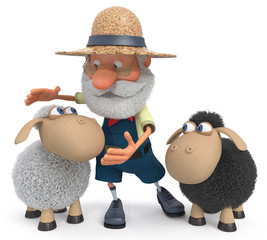 3D illustration the farmer with a lamb