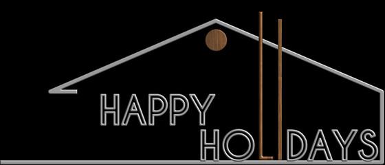 Happy Holidays con il simbolo edificio metallo e legno