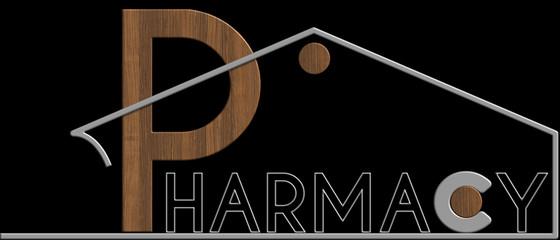 Pharmacy con il simbolo edificio metallo e legno